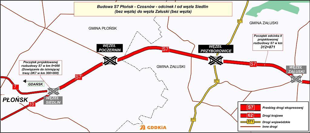 S7 do poszerzenia na odcinki Czosnów-Płońsk