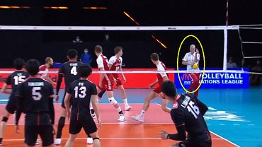 Vital Heynen trafiony zagrywką podczas meczu Polska - Japonia w Lidze Narodów 2021