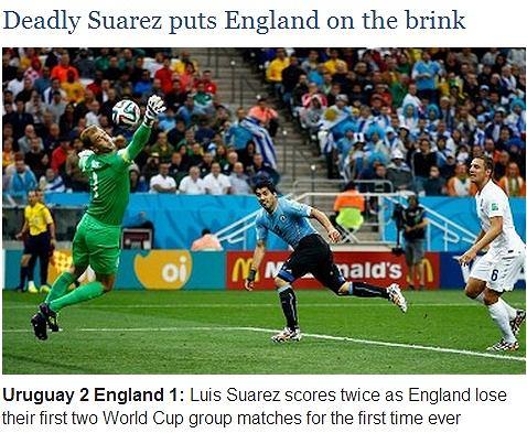The Telegraph: Zabójczy Suarez stawia Anglię na krawędzi