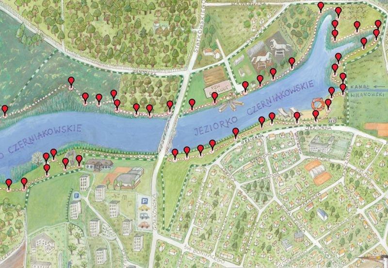 Ścieżka dla Jeziorka Czerniakowskiego, projekt realizowany w ramach budżetu partycypacyjnego.