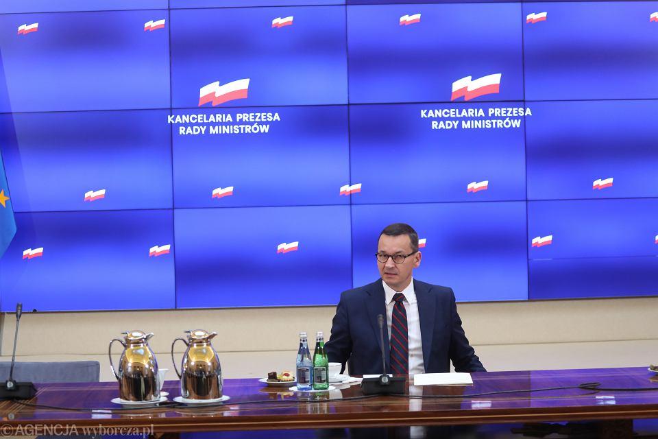 26.08.2020, premier Mateusz Morawiecki podczas spotkania z przedstawicielami ugrupowań parlamentarnych w sprawie sytuacji na Białorusi.