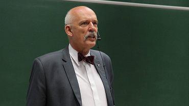 Janusz Korwin-Mikke podczas spotkania ze zwolennikami Kongresu Nowej Prawicy
