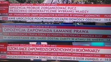 Paski TVP Info podczas relacji z demonstracji w obronie sądów