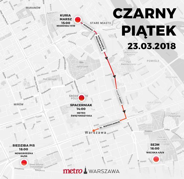 Czarny piątek. Trasy marszów i utrudnienia w Warszawie