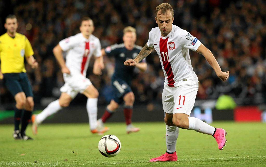 Glasgow: mecz podczas eliminacji Mistrzostw Europy Szkocja - Polska. Kamil Grosicki