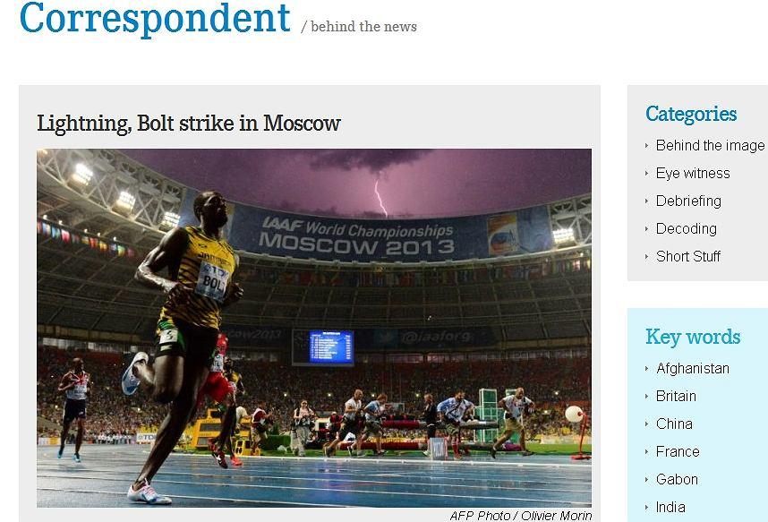 Zdjęcie Usaina Bolta z piorunem na blogu francuskiego fotografa