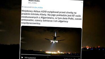 Samolot z ewakuowanymi wylądował w Pradze