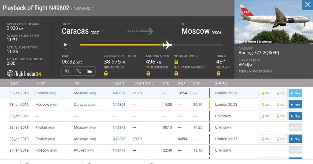 Tajemniczy lot z Wenezueli do Rosji