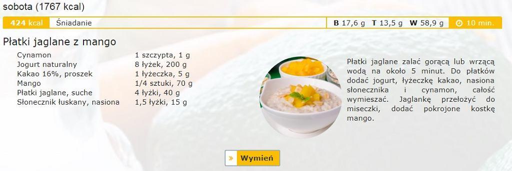 Przykładowy posiłek darmowej diety NFZ po zalogowaniu się na stronę