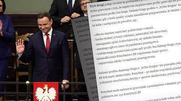 Prezydent Andrzej Duda i fragment komunikatu dot. prawa łaski