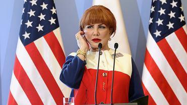 Ambasador USA w Polsce Georgette Mosbacher podczas konferencji w KPRM. Warszawa, 7 listopada 2019