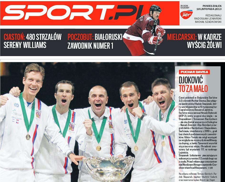 Okładka magazynu Sport.pl Ekstra z 18 listopada