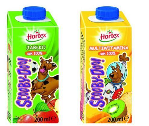 Pyszne soki 100% Hortex Scooby Doo w wygodnych kartonikach 200 ml z zakrętką