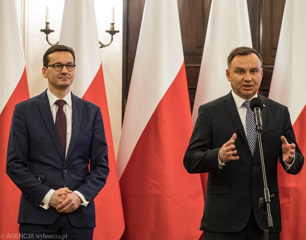 Andrzej Duda i Mateusz Morawiecki podczas uroczystości powołania członków rządu do Rady Dialogu Społecznego