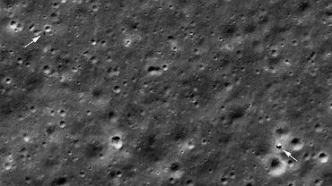 Chiński lądownik Chang'e 4 (po prawej) i łazik Yutu 2 na zdjęciu z orbity Księżyca