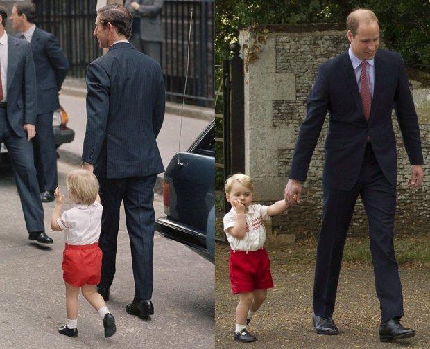 Książę William i książę Karol w 1984 roku i książę Jerzy i książę William w 2015 roku