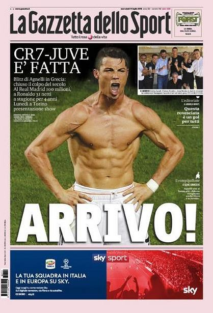 Ronaldo w Juventusie. La Gazzetta dello Sport
