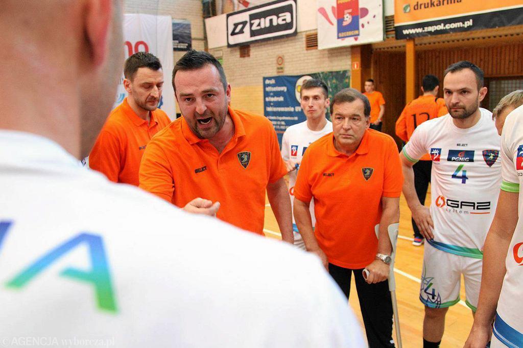 Rafał Biały i Sławomir Fogtman podczas ligowego meczu MMMTS Kwidzyn