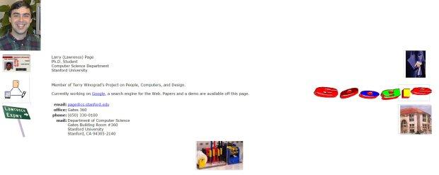 Pierwsza strona Larry'ego Page'a
