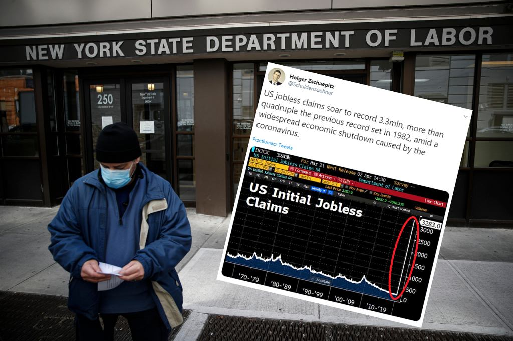 W USA w tydzień przybyło 3,3 mln wniosków o zasiłek dla bezrobotnych