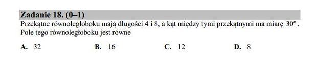 Matura poprawkowa 2016 matematyka, Zad. 18