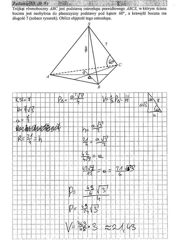 Matura poprawkowa 2016 matematyka, Zad. 33