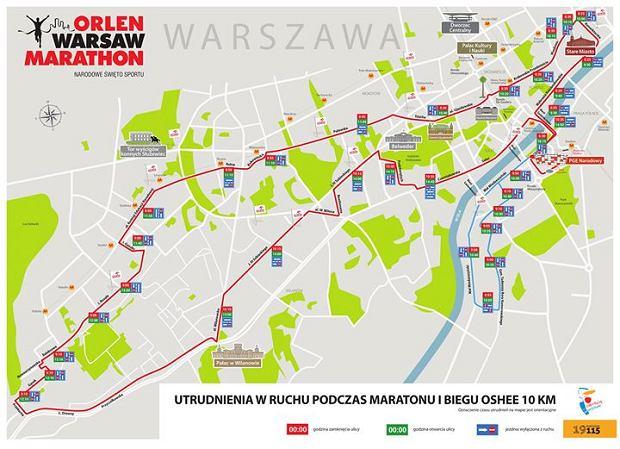 Maraton w Warszawie - trasa