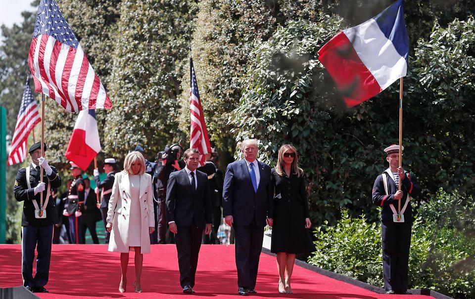 Brigitte i Emmanuel Macron oraz Melania i Donald Trump podczas obchodów 75. rocznicy lądowania aliantów w Normandii. Colleville-sur-Mer, 6 czerwca 2019 r.