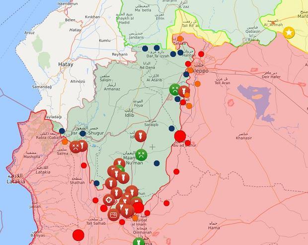 Sytuacja w północno-zachodniej Syrii. Kolor zielony - zbrojna opozycja; kolor czerwony - siły rządowe i sojusznicy