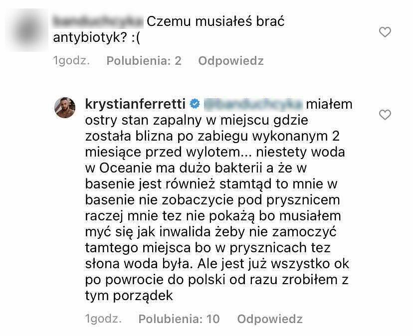 Komentarz na profilu Krystiana z 'Hotelu Paradise'