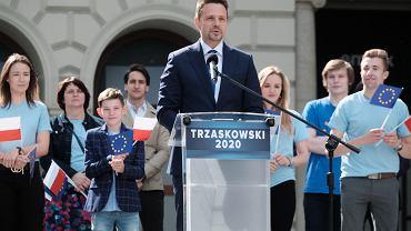 Wybory prezydenckie 2020. Rafał Trzaskowski podczas wiecu wyborczego w Poznaniu.