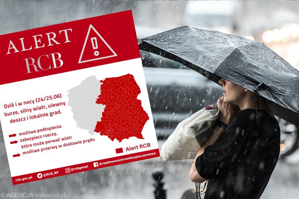RCB ostrzega przed burzami, wiatrem, gradem i deszczem