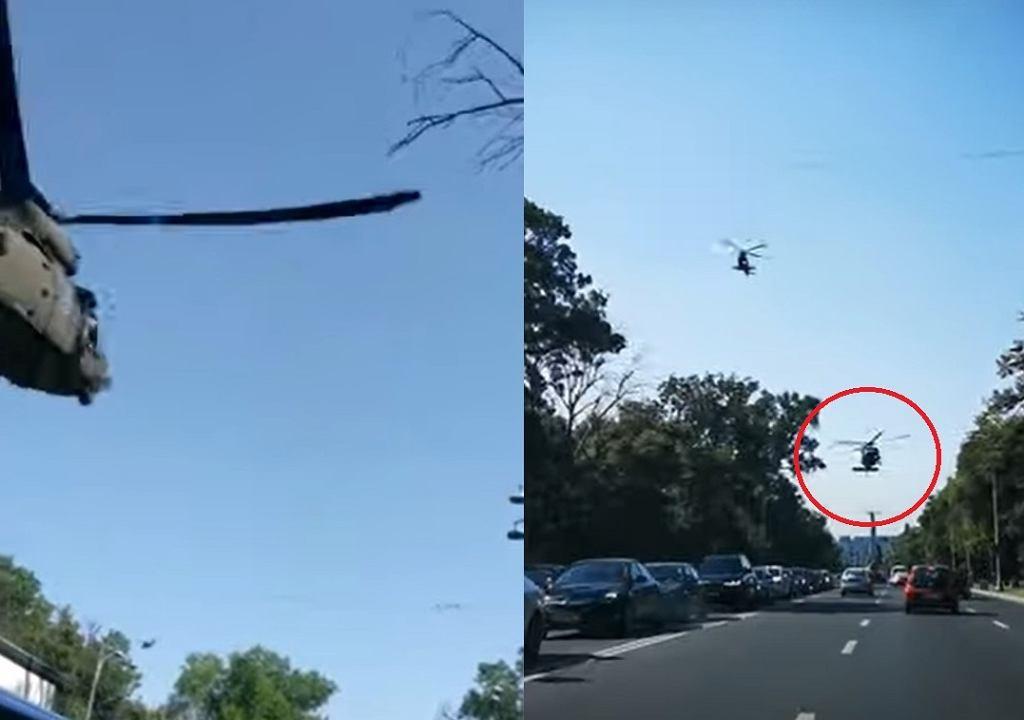 Lądowanie Black Hawka na ulicy w Rumunii.