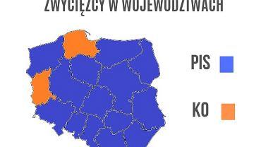 WYNIKI WYBORÓW 2019. Polska nie jest już podzielona na pół. Miażdżąca przewaga PiS w województwach