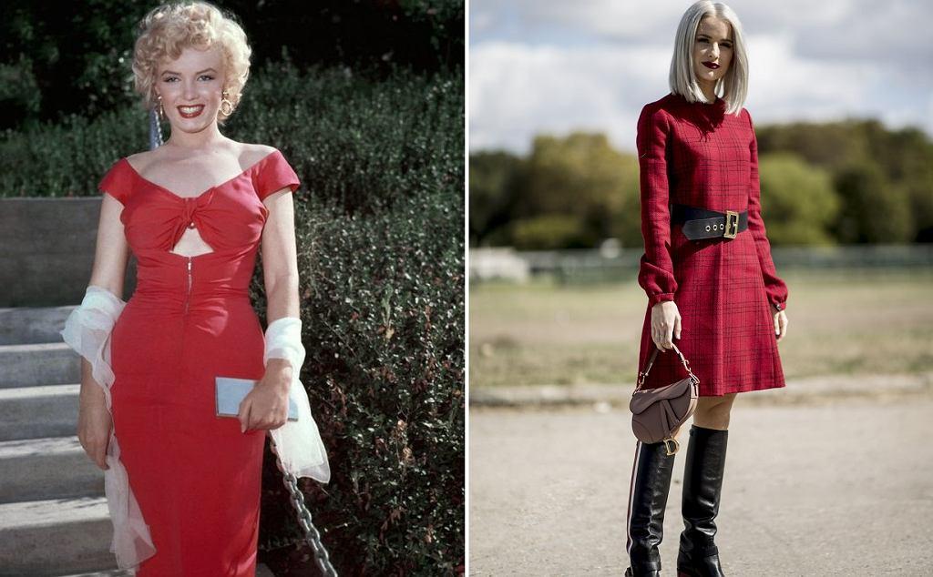 Marylin Monroe w czerwonej sukience; Kobieta w czerwonej sukience