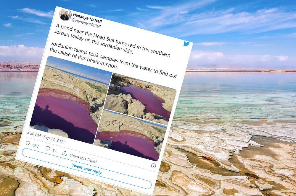 Jezioro sąsiadujące z Morzem Martwym w Jordanii zmieniło kolor