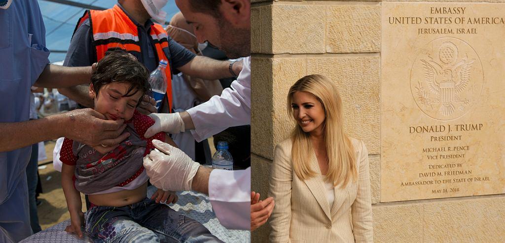 Akcja ratowników w Gazie i otwarcie ambasady w USA (na zdj. Ivanka Trump w Jerozolimie)