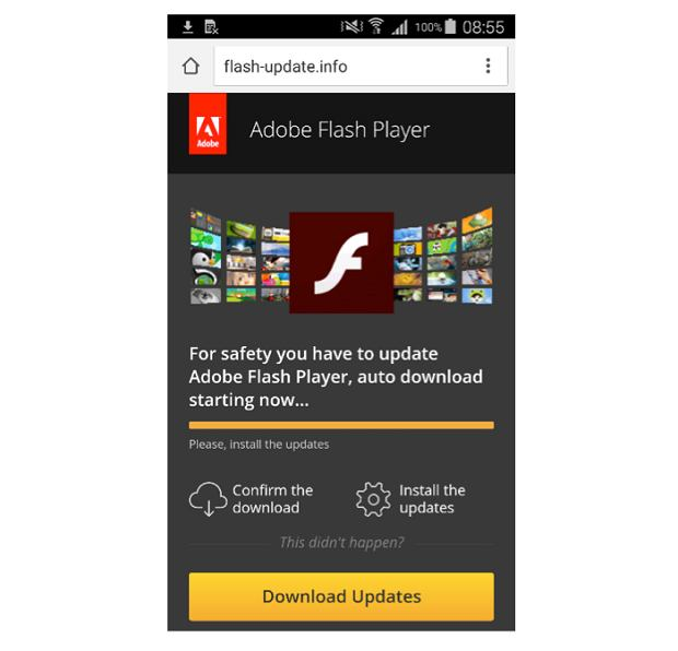 Fałszywa aktualizacja Flash Playera