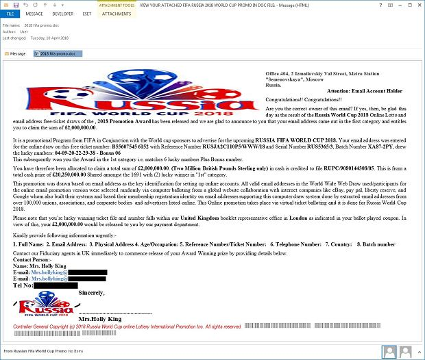 Przykładowy e-mail informujący o zwycięstwie w loterii