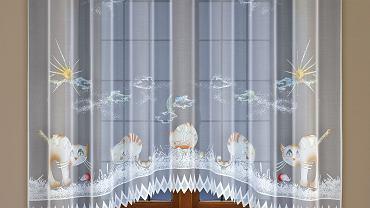 Chcąc wprowadzić nieco fantazji do dziecięcego świata, Fabryka Firanek i Koronek HAFT S.A. przygotowała dedykowane specjalnie dzieciom firanki z wzorami kotów i sów. Dzięki specjalnym, trwałym barwnikom fluorescencyjnym nakładanym na elementy wzorów, firanki świecą w ciemności. Unikatowa kolekcja pozwoli przystroić dziecięcy pokój pomysłowymi dekoracjami, które sprawią frajdę szkrabom i ocieplą wnętrza ich pokoju. <BR /> OKNA. Kocie postacie tworzą bajkową scenę - zwierzaki prężą się, skaczą lub skulone zasypiają