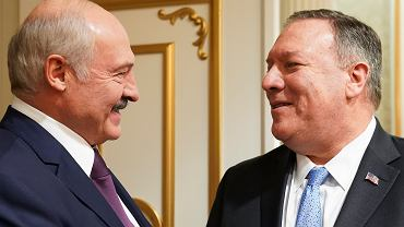 Prezydent Białorusi Aleksander Łukaszenka i Sekretarz Stanu USA Mike Pompeo podczas rozmów w Mińsku, 1 lutego 2020 r.