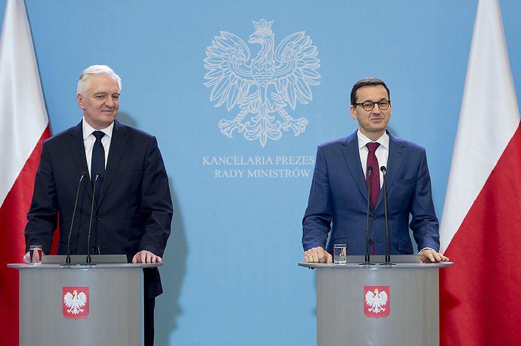 Premier Mateusz Morawiecki i Jarosław Gowin