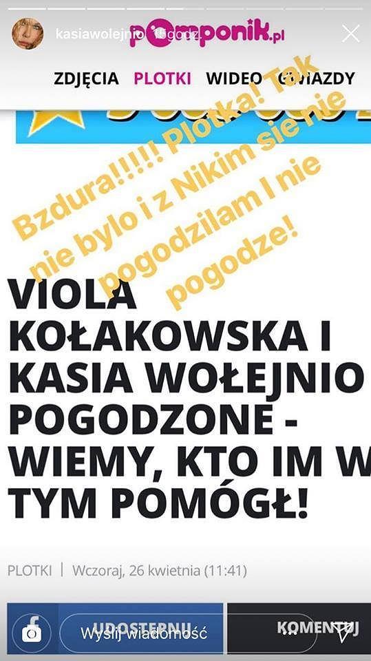 Kasia Wołejnio komentuje konflikt z Violą Kołakowską
