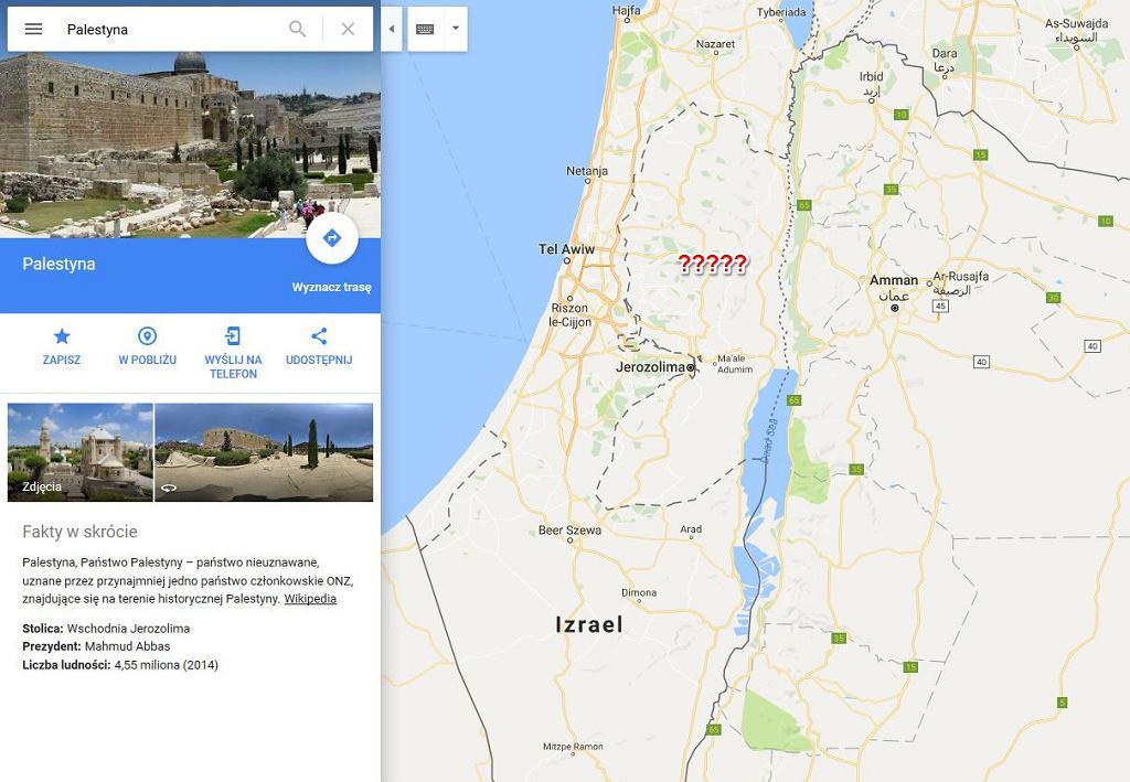 Palestyna usunięta z Google Maps?