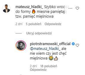 Komentarze na Instagramie Piotra Stramowskiego