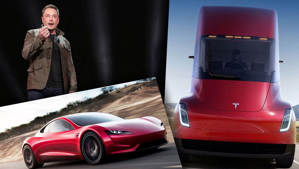 Elon Musk prezentuje dwa nowe samochody Tesli: ciężarówkę Semi i osobowy Roadster 2