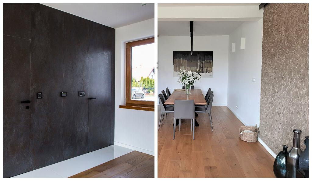 Z lewej: skrzydła drzwiowe ukryte w okładzinie ze spieków kwarcowych. Z prawej: dekoracja ściany - modny wzór 'jodełka' ułożony z cegieł z recyklingu.