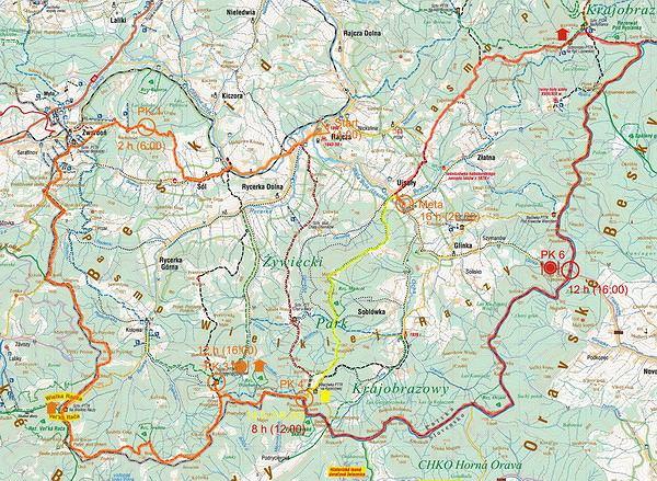 Mapa Ultramaratonu Chudy Wawrzyniec w Beskidzie Żywieckim