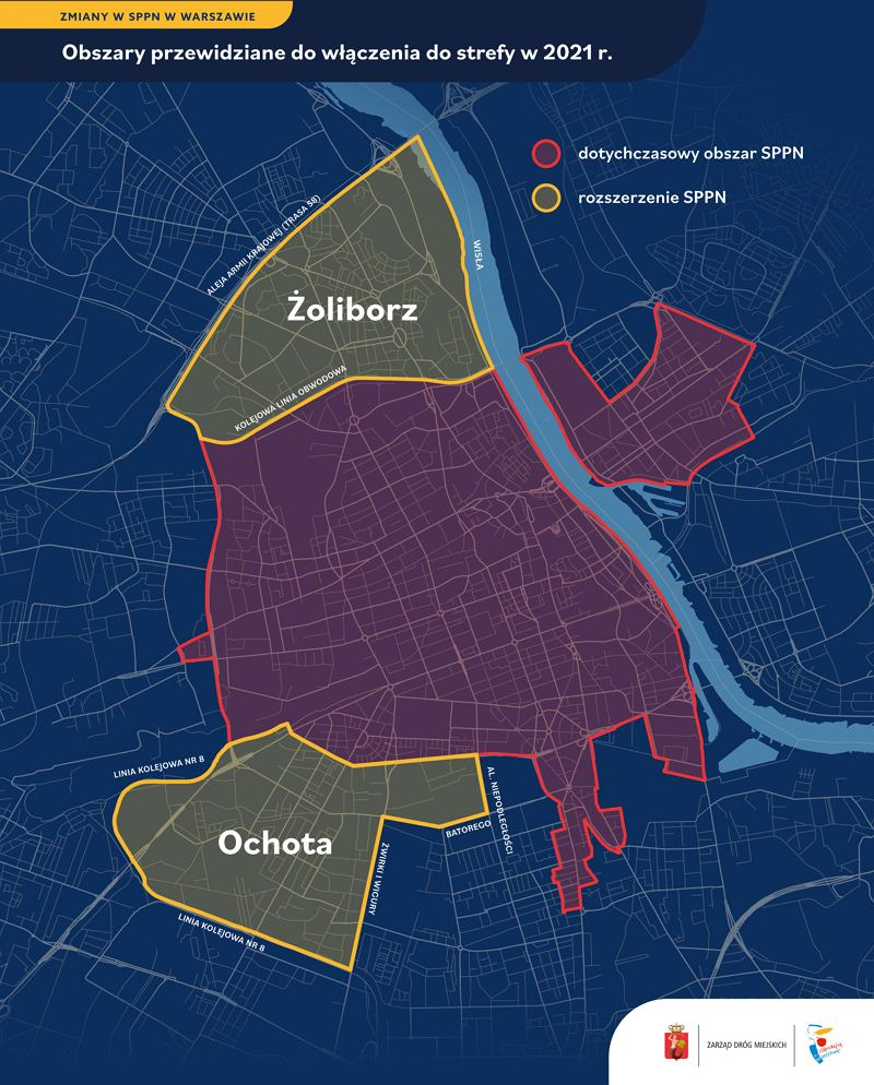 Strefa Płatnego Parkowania Niestrzeżonego - rozszerzenie o Żoliborz i Ochotę w 2021 r.