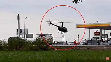 Na stacji benzynowej w Garwolinie wylądował helikopter